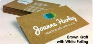Brown Kraft Card printed with white foil